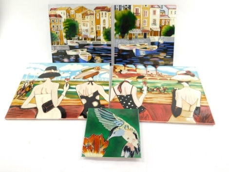 A pair of decorative ceramic tiles A Day At The Races, 33cm high, 41cm wide, a pair of Brent Heighton Art In Motion tiles decorated with Continental port scenes, 30cm high x 30cm wide, and a tile decorated with the humming bird, 20cm high, 20cm wide. (5)
