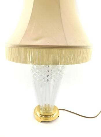 A Waterford crystal Belline table lamp, with brass mounts and shade, 69cm high.