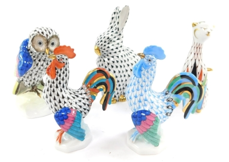 A group of Herend porcelain figures, comprising owl, seated cat, hare and two cockerels. (5)