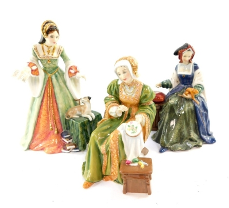 Three Royal Doulton figures, comprising Lady Jane Grey, HN3680, Anne Of Cleves HN3356, and Catherine of Aragon HN3233.