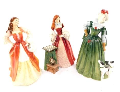 Three Royal Doulton figures, comprising Anne of Denmark HN4266, Princesss Elizabeth HN3682, and Moll Flanders HN3849.