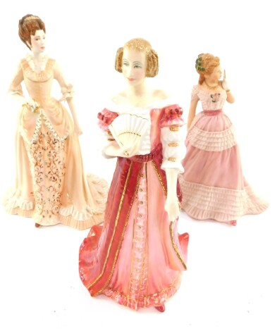 A Royal Doulton figure modelled as Sophia Dorothea, Georgian Queens, HN4074, together with a V&A porcleain figure modelled as Madeline At The Opera, 81021, and a Wedgwood porcelain figure modelled as Enchanted Evening. (3)