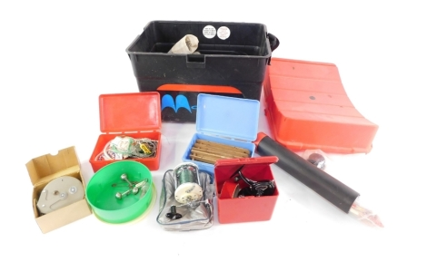 Various fishing equipment, contained in a rectangular fishing box creel, to include floats, weights, a Morritts Intrepid Elite reel, 10cm long, British Strike Right Tideflo reel, other fishing equipment, reels, etc. (a quantity)