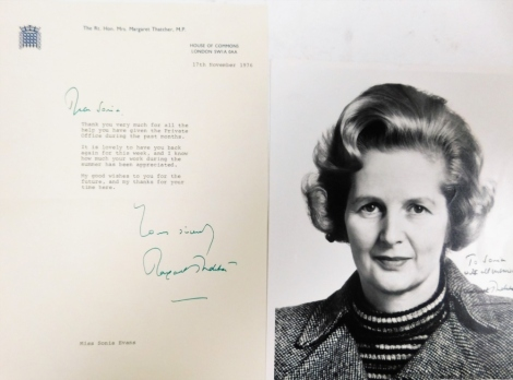 A Margaret Thatcher signed photograph, signed to Sonia with all best wishes, Margaret Thatcher, 25cm x 20cm, together with House of Commons letter dated 17th November 1976. NB. The recipient was a personal secretary to Margaret Thatcher at the time of sig