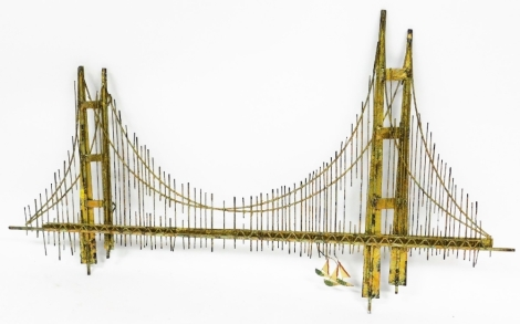 A gold gate bridge by Curtis Jere, signed and dated to corner 1976, in soldered metal, 137cm wide, 82cm high, 8cm deep.