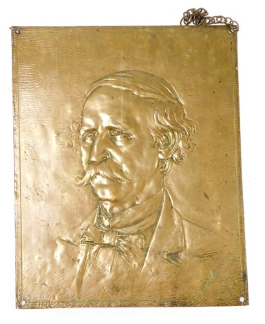 After Howard Kretschmar Sculz (1845-1933). A cast metal hanging plaque by the Henry Bonnard Bronze Company, dated 1887 depicting gentleman in bow tie, 47cm x 38cm.