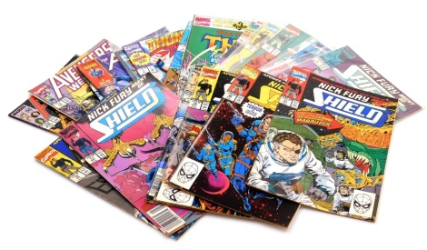 A group of Marvel Comics relating to Thor, The Avengers and Nick Fury Shield, to include the Avengers 6th June 2001 1, 351 late August, 73 August and 310 mid November, Thor 18, 1993, 16,1991, 1, September and 1 June, Shield 17th November, 16th October, 15