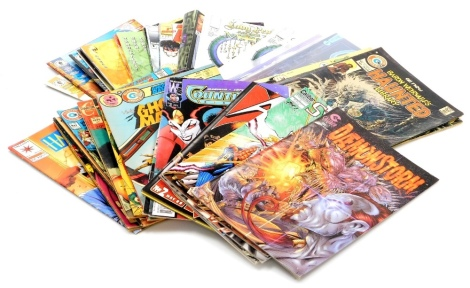 A group of collectors comics, to include Charlton Comics, Ghost Tales, Scary Tales, Ghost Haunts, Ghost Manors, etc., Calibre Comics and Calibre Press, Eagle Comics, Dark Horse Comics, Image and Jan comics, of varying titles such as Ash, Judge Dreed, Robo