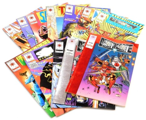 A group of Valiant Comics, to include Death Mate November Red, Death Mate September Prologue, Solar Man, April no.20, Solar Man of The Atom September 25, Eternal Warrior July 12, Unity Time Is Not Absolute October 1, X-O Manowar May 16, Eternal Warrior De