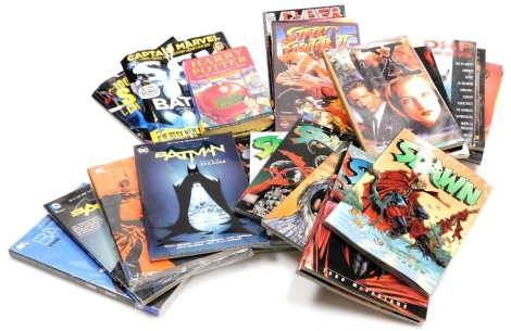A group of Marvel DC and other collectors comics and volumes, to include DC Batman vol 10 and epilogue, Batman Haunted Night, Batman vol 4, Batman The Long Halloween, Spawn Retribution, Revelation, Creation, Accession, Blood Feud, Sanction, Angela and Con