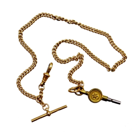 A 9ct gold watch chain, with curb links and clip end with T bar, the T bar stamped 9c, 34cm long, 16.7g all in.