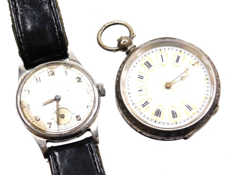 Two watches, to include a Smith's stainless steel cased gentleman's wristwatch, with silvered dial and date aperture on black leather strap, together with a continental silver fob watch, with hammered floral decoration and shield crest, on a white enamel