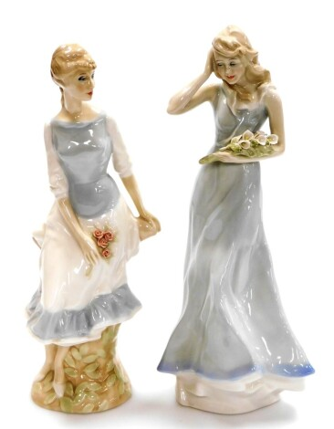 Two Royal Doulton Reflections figures, to include Wind Flower HN3077, 32cm high, and Rose Arbour HN3145, 30cm high (2).