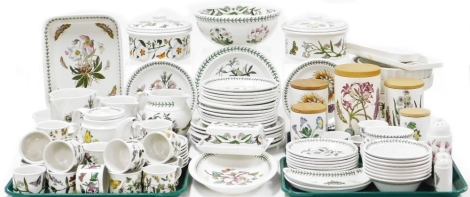 An extensive Portmeirion Botanic Garden part dinner and tea service, comprising tureens, flan dishes, serving trays, storage jars, graduated jugs, pin dishes, teapot, saucers, cups, milk jug, etc. (a quantity).