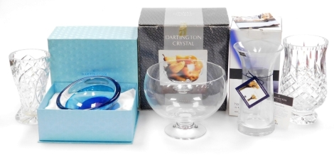 A group of Darlington and other crystal, to include a Darlington Crystal fruit bowl, boxed, a Azura decorative glass bowl from the Azura Maiden Cruise April 2010, boxed, a Darlington crystal daffodil vase, and two other cut-glass vases unmarked. (a quanti