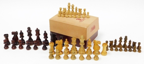 A Staunton pattern chess set, set number 4½, boxed.
