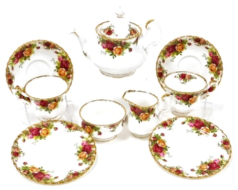 A Royal Albert Old Country Roses part tea service, comprising teapot, milk jug, sugar bowl, two cups and saucers and two side plates.