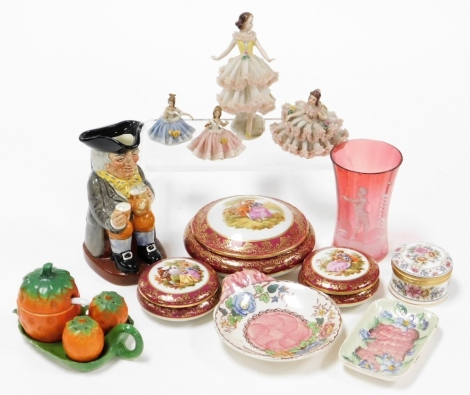 A small group of collectables, to include a Mary Gregory style cranberry glass vase, Limoges trinket boxes, Falcon China trinket box, Crinoline ladies, Royal Doulton Happy John character jug, Maling pin dishes, etc. (1 tray)