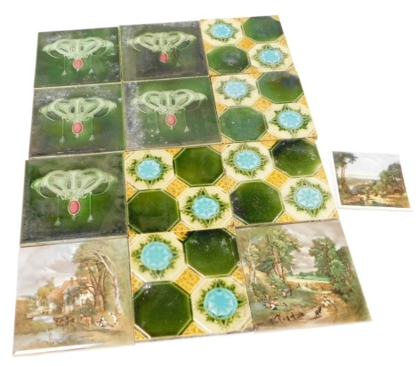A group of Art Nouveau style and other wall tiles, to include a set of six green Art Nouveau tiles, a set of five four box design green and turquoise tiles, together with three portrait scenes by H and R Johnson Limited. (a quantity)