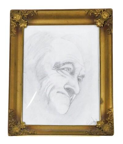 Seals. Portrait, pencil sketch in ornate brass frame, 23cm x 17cm.