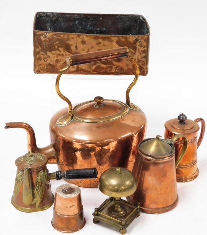 A group of Victorian and later copper ware, to include a copper kettle, tankard and cover, bell, chocolate pot with Art Nouveau type design, rectangular serving tray, etc. (a quantity)
