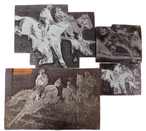 A group of four printing blocks, each relating to horse racing.