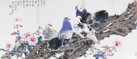 A Chinese print, of doves perched on a gnarled branch with flowers, inscribed and signed, 45cm x 99cm, framed and glazed.