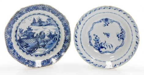 Two Chinese 18thC blue and white bowls, one of octagonal form decorated with bridges and outbuildings, 16cm wide, and a circular bowl of floral design, 16cm wide. (2)