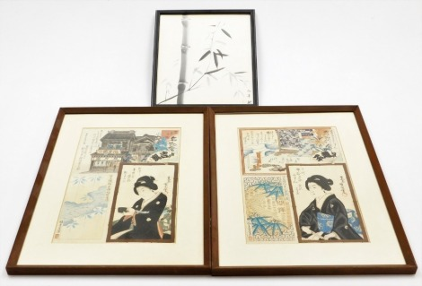A pair of Japanese woodblock prints by Toyoharu Kunichika, depicting geisha, buildings, etc. (1896), 34cm x 22cm, together with a Chinese print of bamboo, 26½cm x 23cm.
