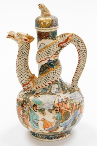 A Meiji period Japanese Satsuma ewer and cover with dog of fo knop, a sinuous dragon forming the handle and spout, painted with samurai and sages, dog of fo knop, marked 'Satsuma' to the base, 26cm high.
