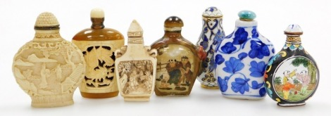 A collection of modern Chinese snuff bottles, including a carved bone bottle, two enamel bottles and two porcelain bottles, etc. (7)