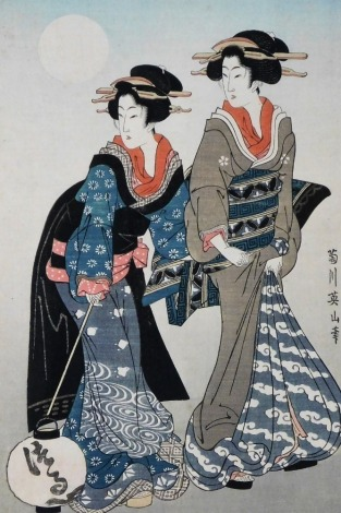 A Japanese wood block print, depicting two geisha, one carrying lantern, 37cm x 24cm, framed and glazed. This print is from the series published monthly by Daikosha in 1925.