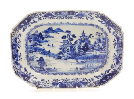 A Chinese blue and white octagonal meat plate, with river landscape scene within floral borders, 18thC, 31cm diameter.