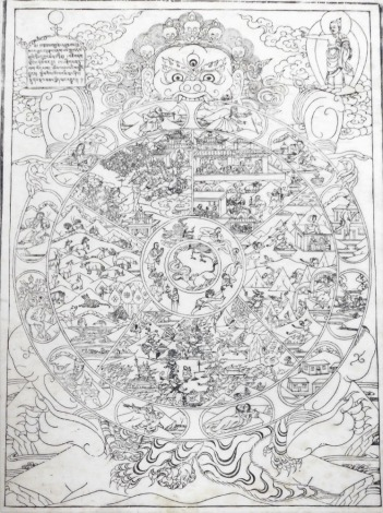 A Tibetan woodblock print on paper, of a Mandala depicting the circle of life, 65cm x 48cm, framed and glazed.