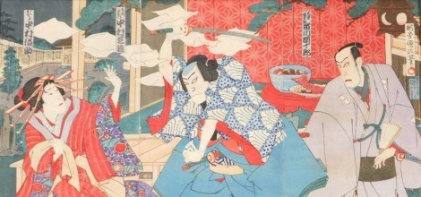 A Japanese woodblock triptych by Kunisada III, depicting a kabuki play with Nakamura Shikan playing the role of Teroka Heiemon and Okaru in the role of Nakaumura Fukuse, circa 1887, 35cm x 71cm overall.