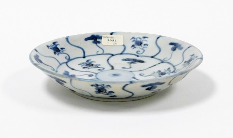 The treasure of Tek Sing Chinese porcelain large lotus design shallow dish, with certificate of authenticity and label numbered 9091, early 19thC, 19cm wide.