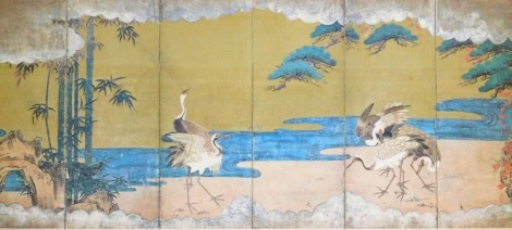 A framed and glazed print of a Japanese six-fold screen, with cranes at the river, 14cm x 32cm.