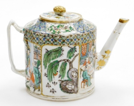 A 19thC Chinese porcelain teapot, with panelled famille verte decoration of figures, birds, etc., with a strap handle and faux bamboo spout, 14cm high.