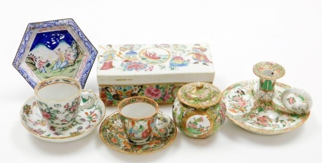 A small group of Chinese ceramics, including a Canton chamber stick, cups, saucers and covered pot, rectangular section box and an enamelled dish.