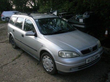 A Vauxhall Astra 1.6L estate, registration AC03 GHH, 124,014 miles, vehicle starts and has been run around the yard. Sold as seen no V5.