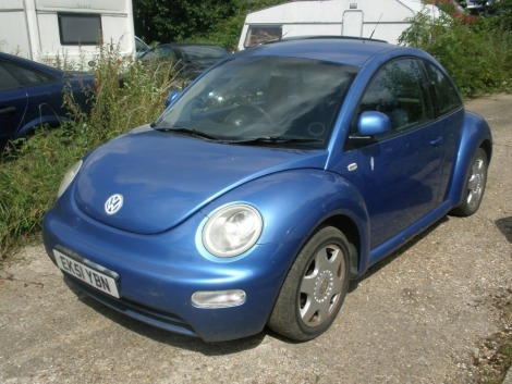 A Volkswagen Beetle, registration EK51 YBN, 115,206 miles. Vehicle has been started and driven around yard. Sold as seen, no V5.