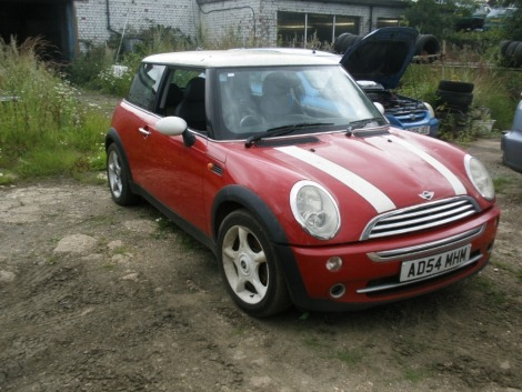 A Mini Cooper, registration AD54 MHM, 105,665 miles. Vehicle has been started and run around the yard. Sold as seen, no V5.