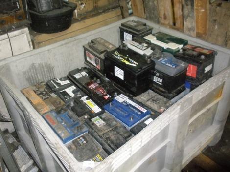 A pallet of car batteries.