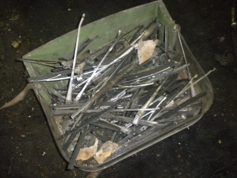A drawer of wiper arms, etc., for vintage and collectors cars.