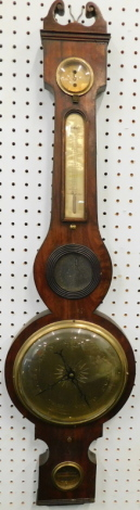 A mid 19thC wheel barometer, stamped D. Rivolta Edinburgh, in a mahogany case with brass dials, 101cm high. (AF)