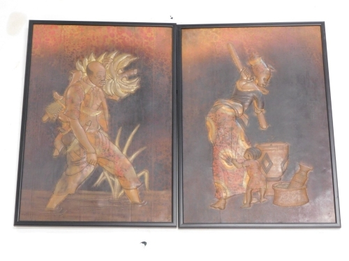 Tribal Art. Hammered and coloured copper panel, each depicting female and male figures dancing, etc., ebonised frames, 48cm x 40cm.