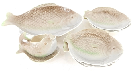 A Shorter and Sons fish set, with brown and green glazes.