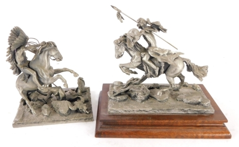 Two Chilmark fine pewter figures, the Cheyenne and another similar.