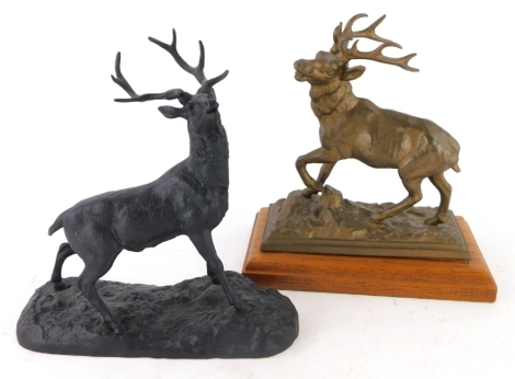 A black spelter figure of a stag, and a similar gilt figure. (2)