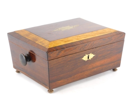 A 19thC and later rosewood workbox, with brass cartouche and side handles, 34cm wide.
